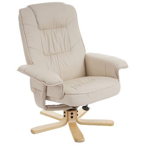 siege en bois fauteuil relax en simili cuir crème pied en bois siège