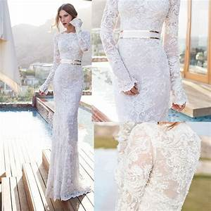 2015 new elegant full long sleeves mermaid wedding dresses With robe lainage manches longues