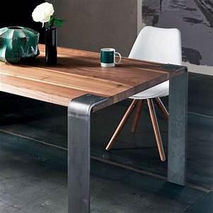 Table Design Industriel En Bois Massif Et Mtal Siviglia