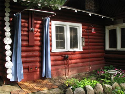 vintage log cabin outdoor shower