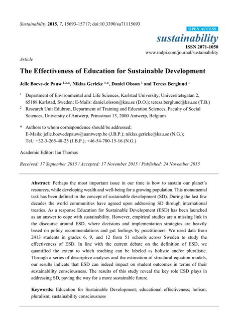 effectiveness  education  sustainable