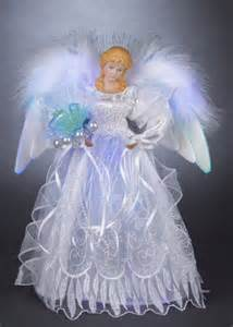 christmas decorations 12 quot white and silver led fiber optic angel tree topper