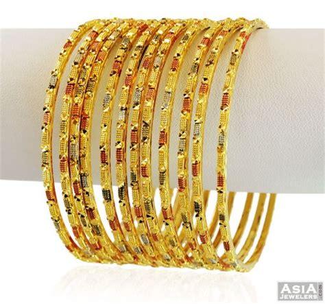 3 tone designer bangles set 22k 10 pc asba58847 22k gold bangles churis set set of 10 pcs