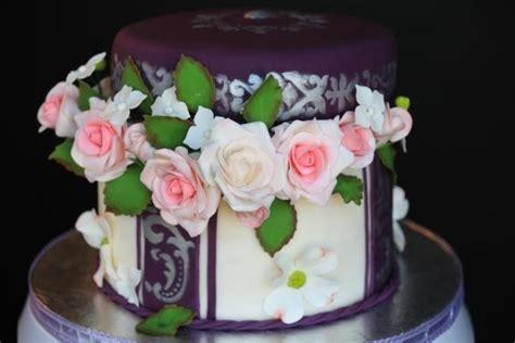 wedding anniversary cake   edible flowers