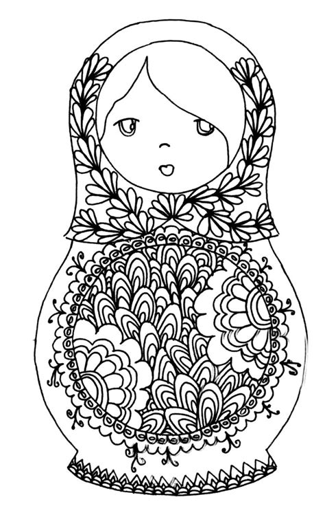 printable adult colouring page russian dolls source coloring pages adultscom