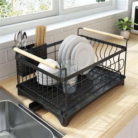 rust proof kitchen draining dish drying rack dish rack  black drain board   dish