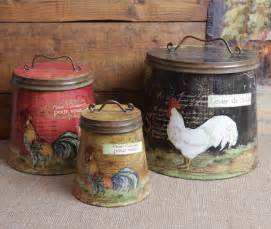 Country Canisters For Kitchen Shabby Country Chic Rooster Tin Canister Set Home Decor Ebay