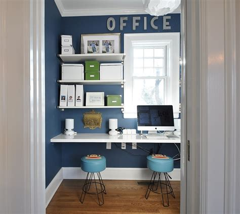 Small Home Office Design With Sleek Shelves In White And A