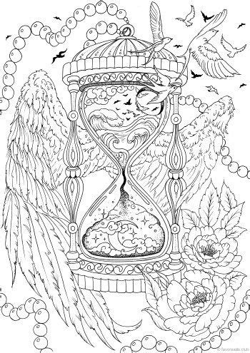 Hourglass in 2020   Printable adult coloring, Coloring