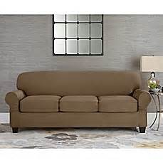 sure fit 174 designer suede individual cushion 3 seat sofa slipcover bed bath beyond