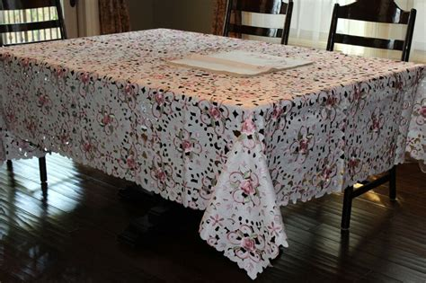 72 quot x126 quot large embroidered tablecloth camellia floral table linen home decor ebay