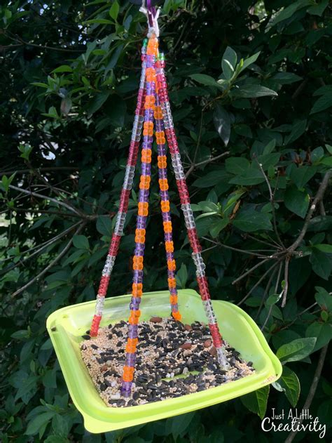 beaded bird feeder   fast food salad container