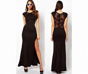 Full Length Black Lace Dress Sheer Back Side Slit-Dresses ...