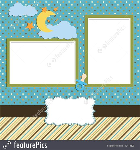 templates baby scrapbook page stock illustration