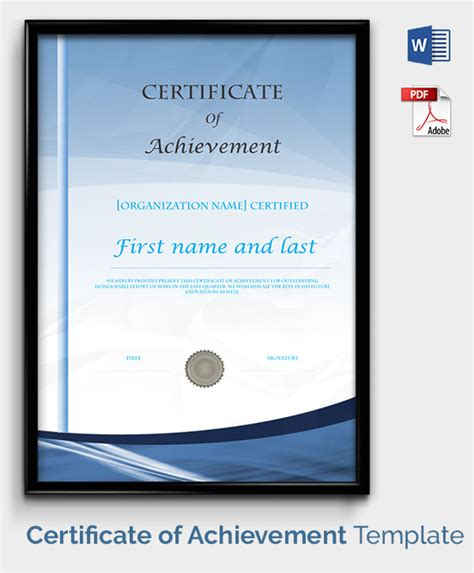 Certificate Of Accomplishment Template Free by Certificate Template 50 Free Printable Word Excel Pdf