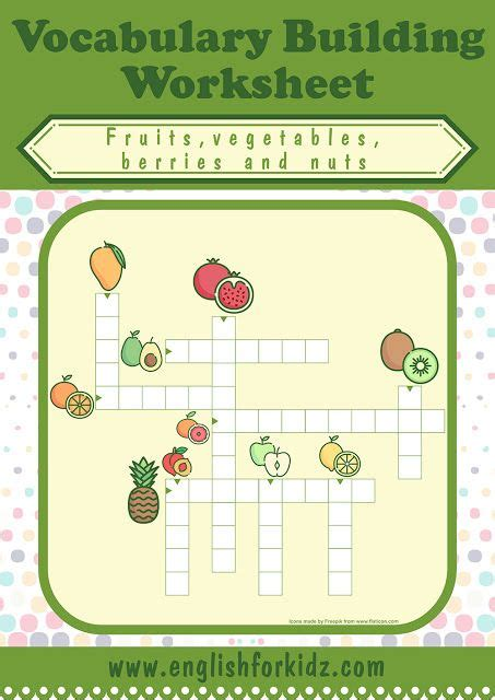 fruits  vegetables crossword puzzles  images