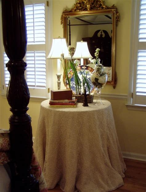 Bedroom Table Skirts by Burlap And Organza Tableskirt