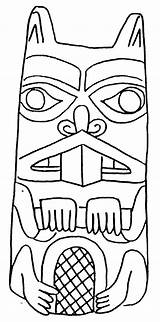 Coloring Pages Totem Poles Beaver Pole Drawing Animal Outline Craft Totems Native Draw American Sketch Tiki Drawings Wolf Animals Adults sketch template