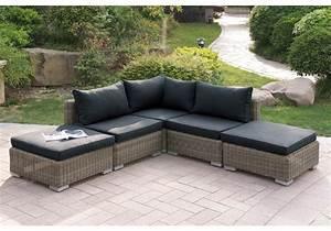 Outdoor patio sectional sofa set tan pe wicker chaise for Outdoor sectional sofa with chaise