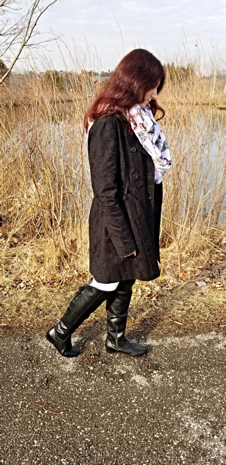 Perfect Coat Black Trench Tall Boots White