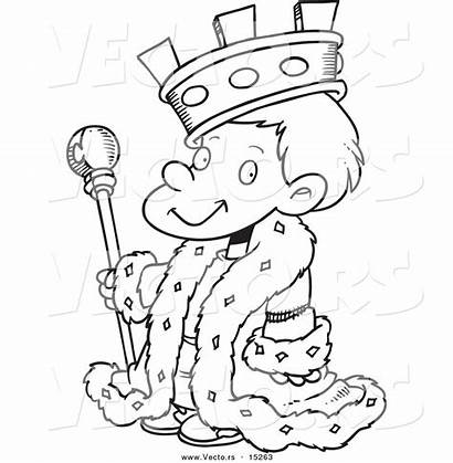 King Outline Coloring Cartoon Pages Boy Clipart