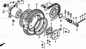 Honda Motorcycle 1994 Oem Parts Diagram For Rear Wheel