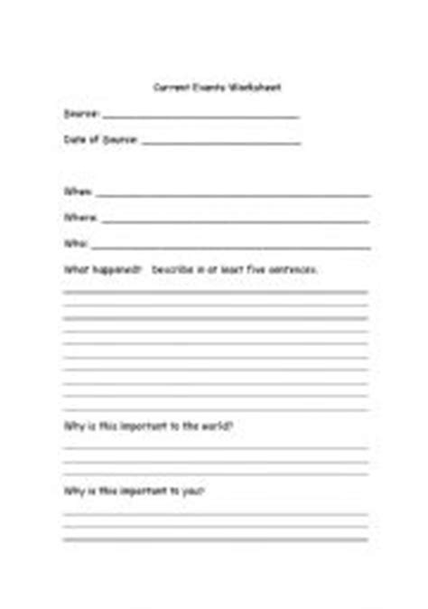 English Worksheets Current Events