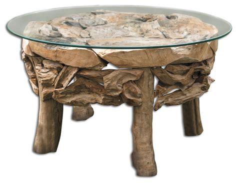 round coastal coffee table uttermost teak root round coffee table beach style