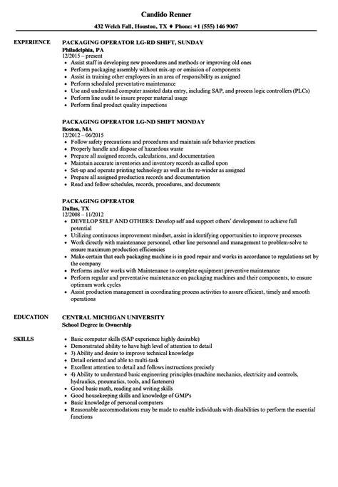Resume For Packaging by Packaging Operator Resume Sles Velvet