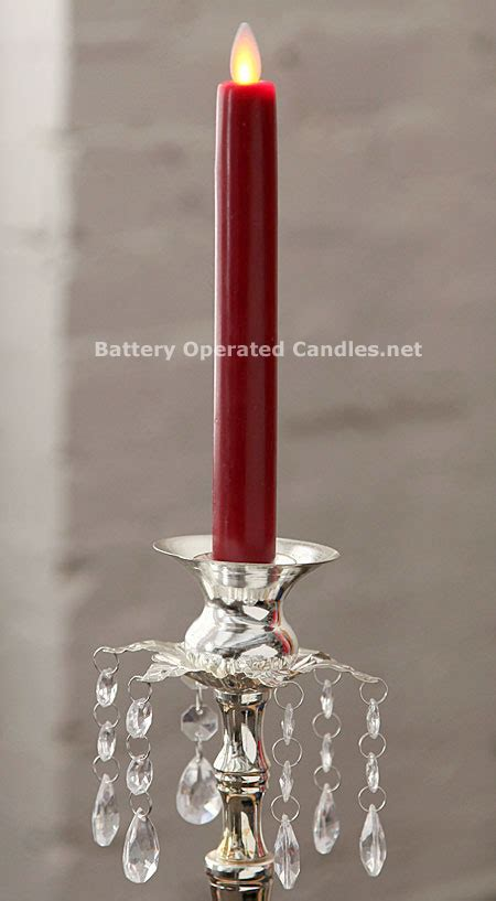 red moving flame battery operated taper candle timer