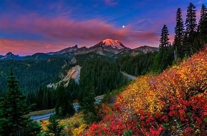Rainier Mount Moon Desktop Road Mountains Mt