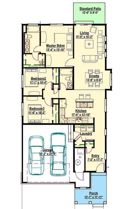 narrow lot bungalow sc architectural designs house plans