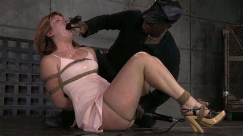 Kinky Black Guy Jack Hammer Mouth Fucks Tied Up Redhead