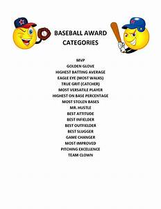 End of season baseball award categories projects ideas for kids pinterest seasons kid and for Baseball awards ideas