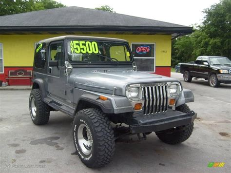 jeep dark gray 1991 dark silver metallic jeep wrangler 4x4 11480541