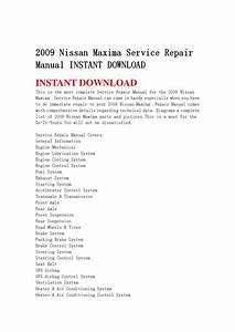 2009 Nissan Maxima Service Repair Manual Instant Download