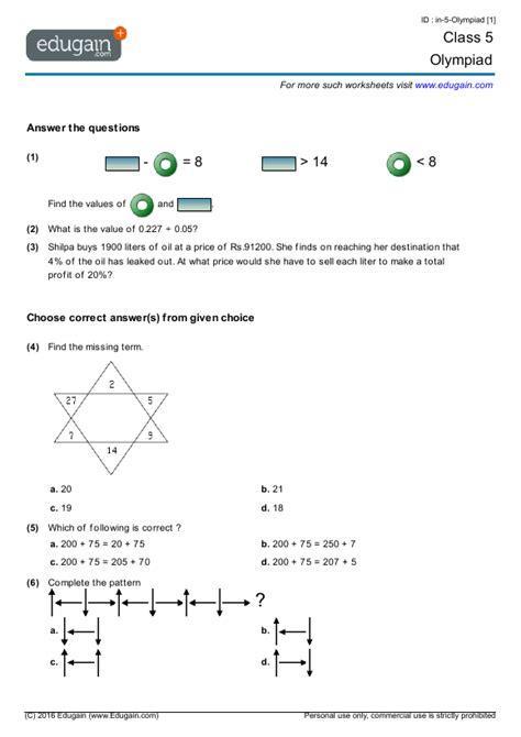 grade  olympiad printable worksheets  practice