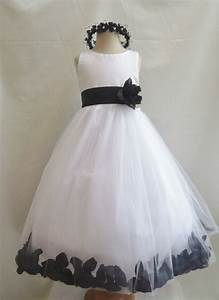 Flower Girl Dresses - WHITE With Black Rose Petal Dress ...
