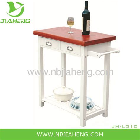white classical mdf kitchen trolley  solid wood table