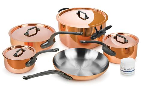 mauviel mheritage  copper cookware set  piece cutlery