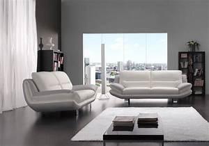 Canapé Gris Cuir : canap cuir design blanc gris bea salon cuir italy pas cher ~ Teatrodelosmanantiales.com Idées de Décoration