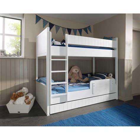 lit superpos 233 pour enfant avec tiroir lit blanc laqu 233 et bois mdf