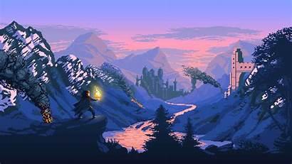 Pixel Fantasy Castle Mountains Digital Desktop Wallpapers