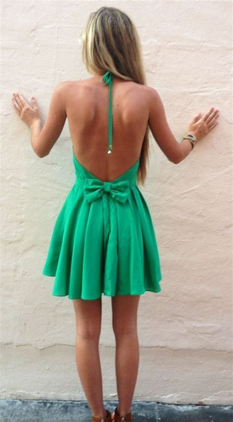 Summer. Dress. Green. Backless. Bow. Fashion. I LOVE this. #SRtrending   fashion   Pinterest ...