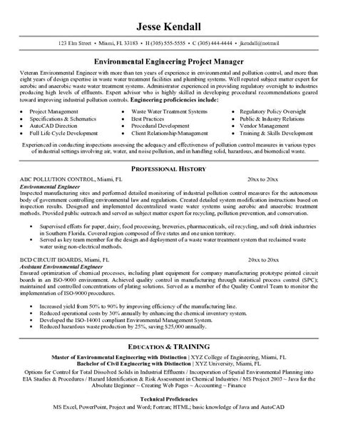 free environmental engineer resume exle