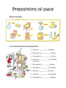 Worksheets On Prepositions of Place