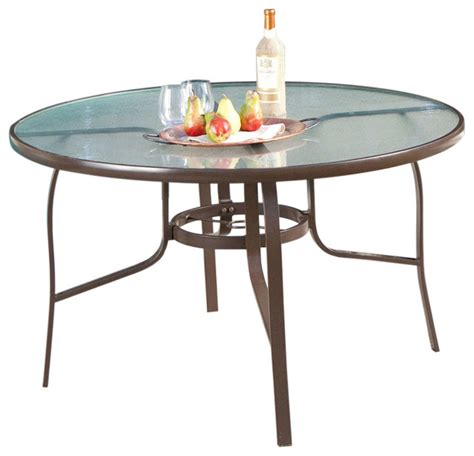 48 glass table top fastfurnishings 48 quot round glass top outdoor patio dining