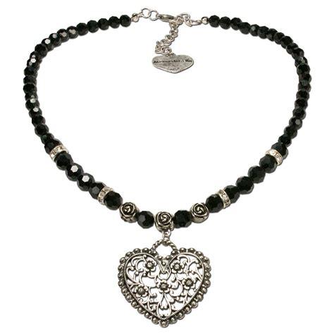 PerlenHalskette Blütenherz (schwarz) Trachtenschmuck