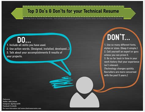 professional resume dos and donts top 3 do s and don ts for your technical resume client resources inc