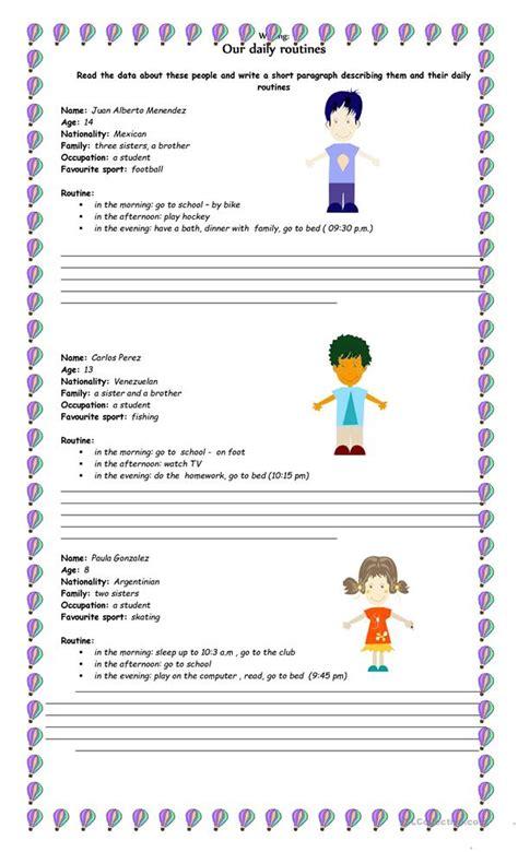 daily routines writing worksheet  esl printable